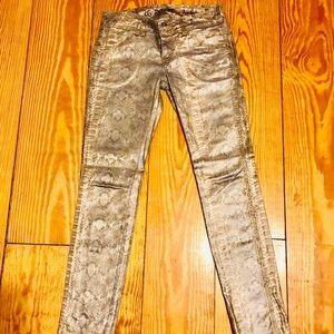 Denim - Gold Snake Print Vegan Leather Pants